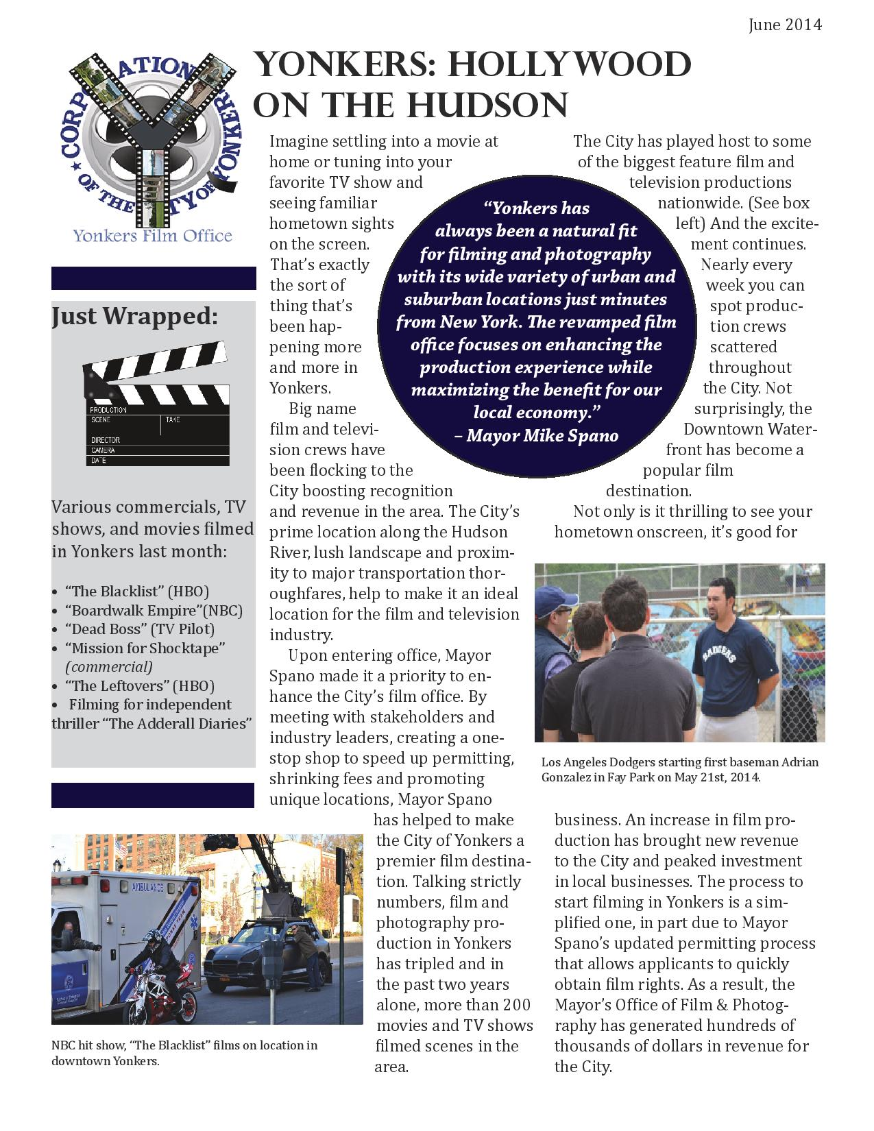 Film Yonkers June Newsletter Page 1