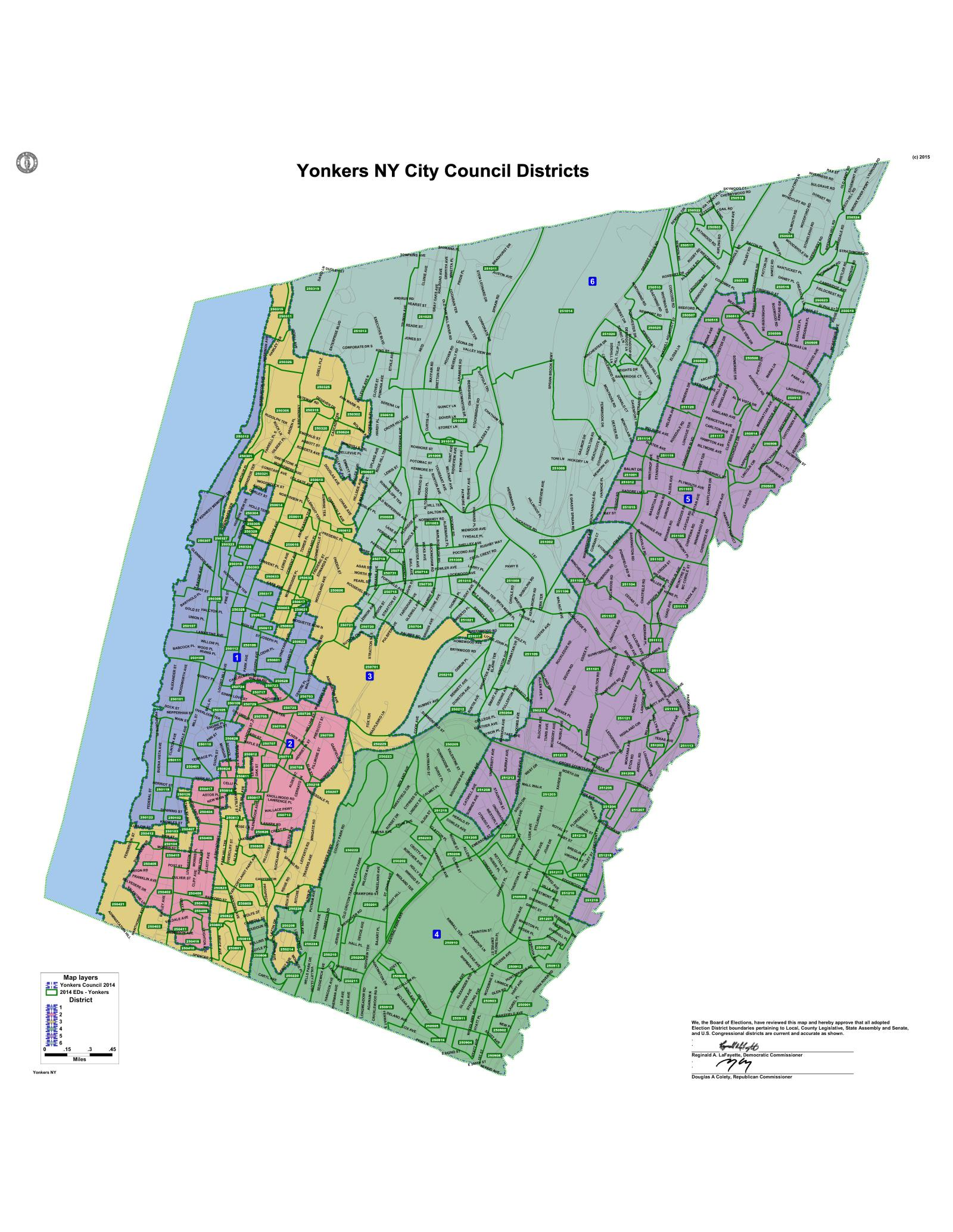 City Council Districts City Of Yonkers NY - District map us election