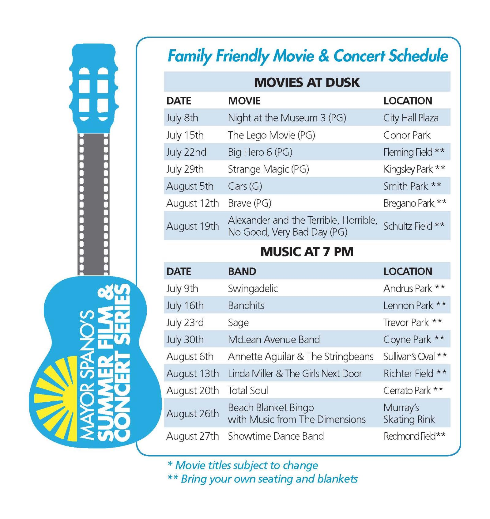 Summer Concert & Film Schedule