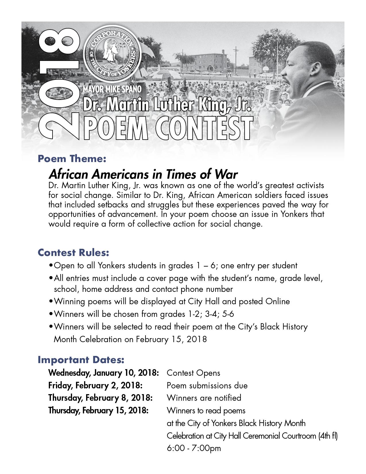 Rev Dr Martin Luther King Jr Poem Video Contest