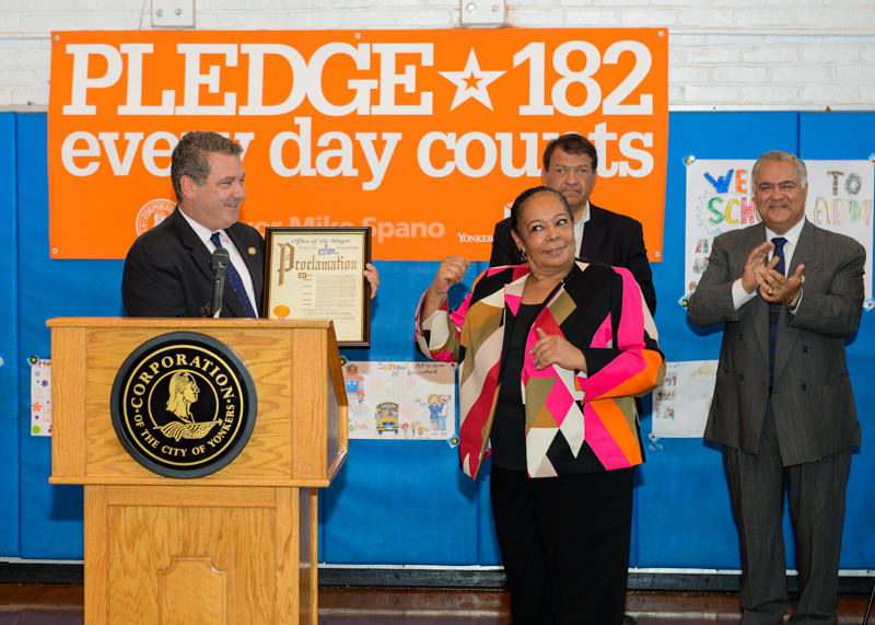 Mayor Spano presents School 17 Principal Rita Morehead with a Proclamation