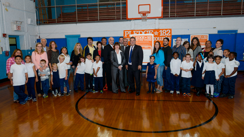 School 17 families with Mayor Mike Spano