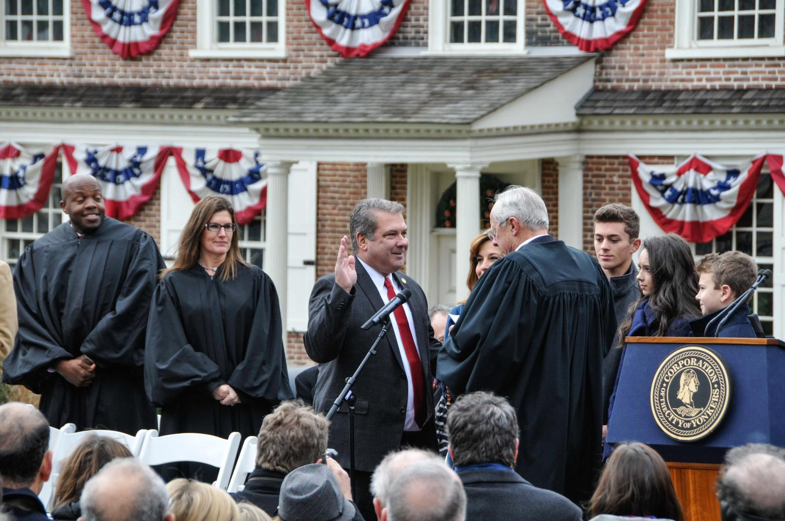 Mayor Spano takes the oath of office to serve a second term as Mayor of the City of Yonkers
